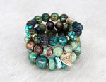 Load image into Gallery viewer, African turquoise, shed antler, turquoise and coconut bracelet
