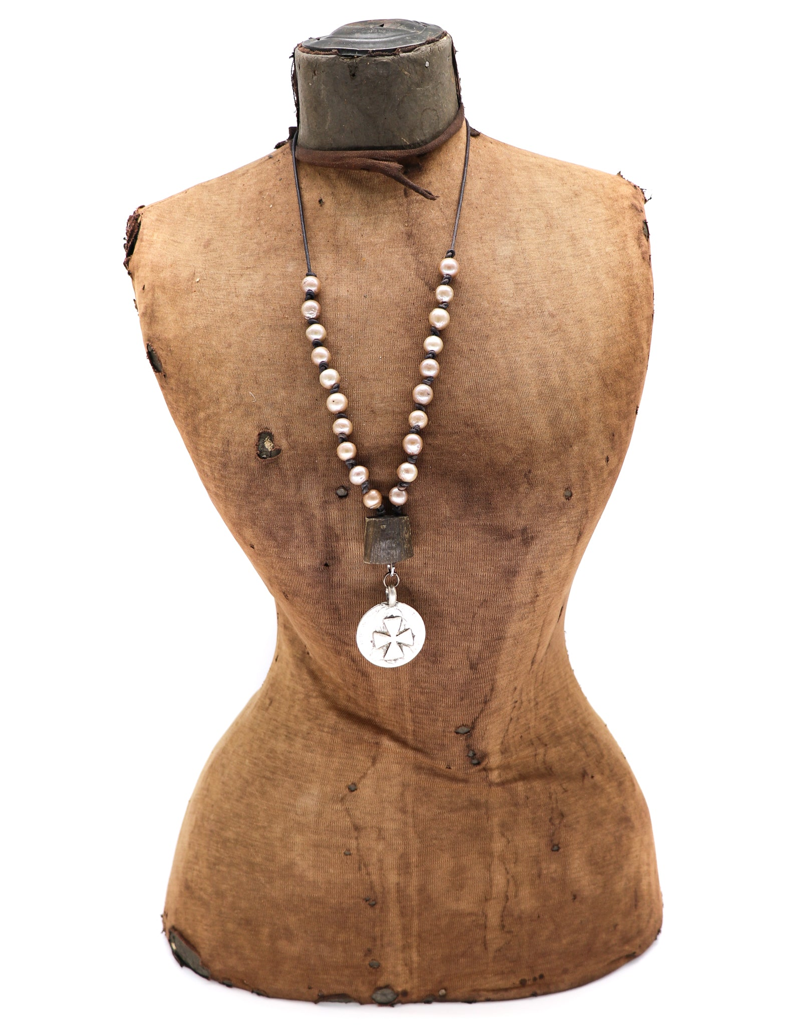 Champagne baroque pearls on leather necklace