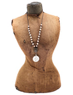 Load image into Gallery viewer, Champagne baroque pearls on leather necklace