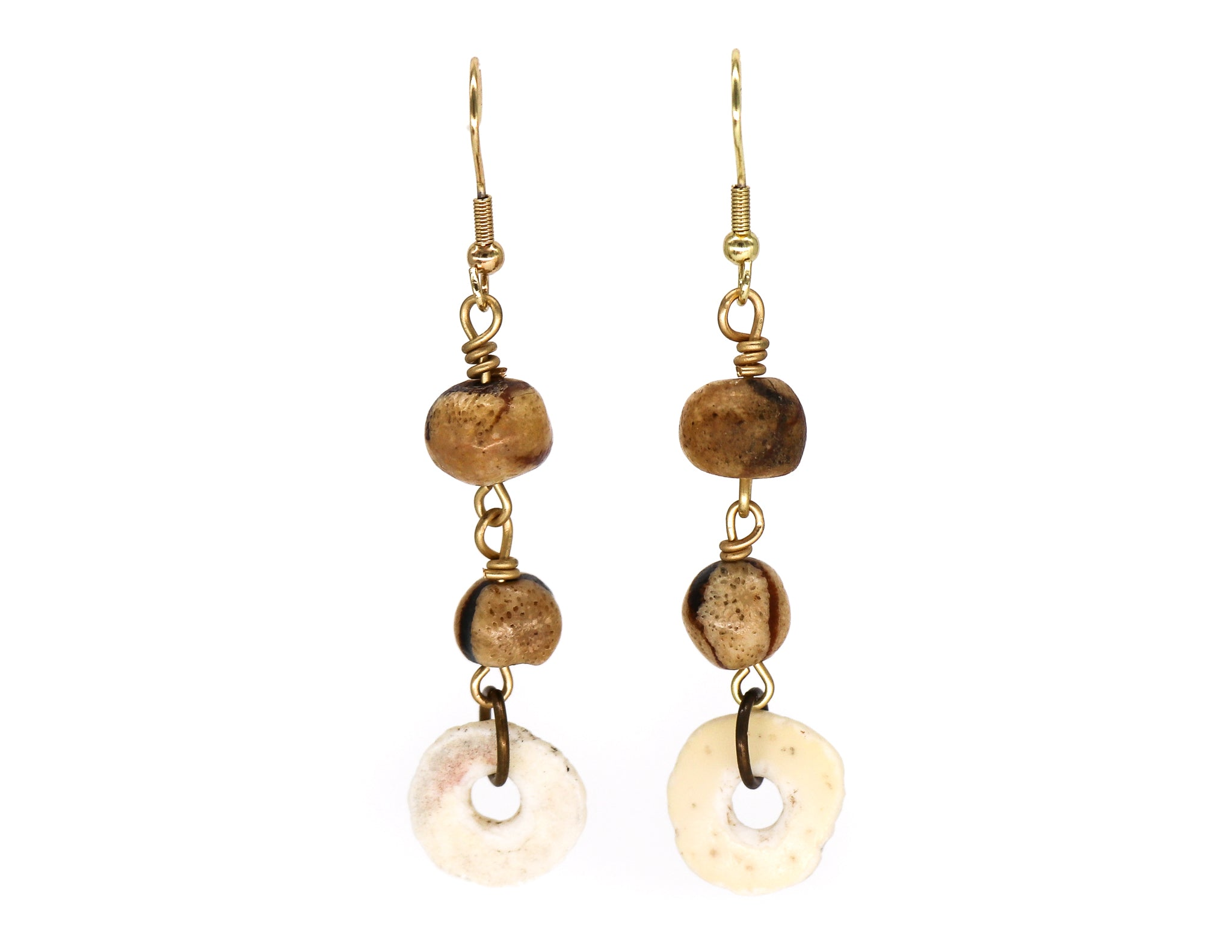 Sponge tiger coral and ostrich egg shell earrings