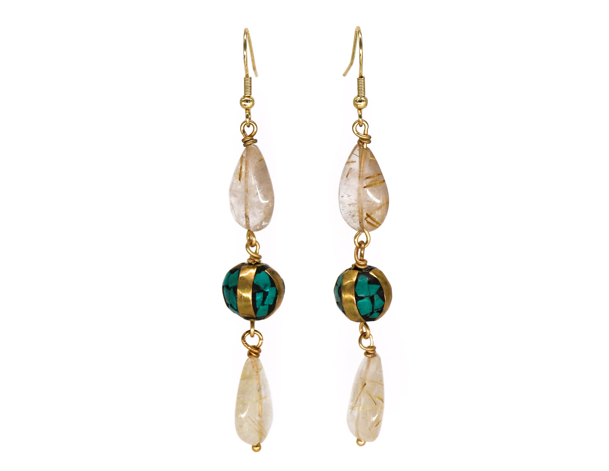 Golden rhutilated quartz with turquoise earrings