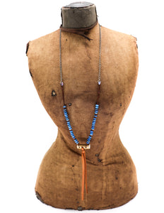 Lapis, leather and chain necklace