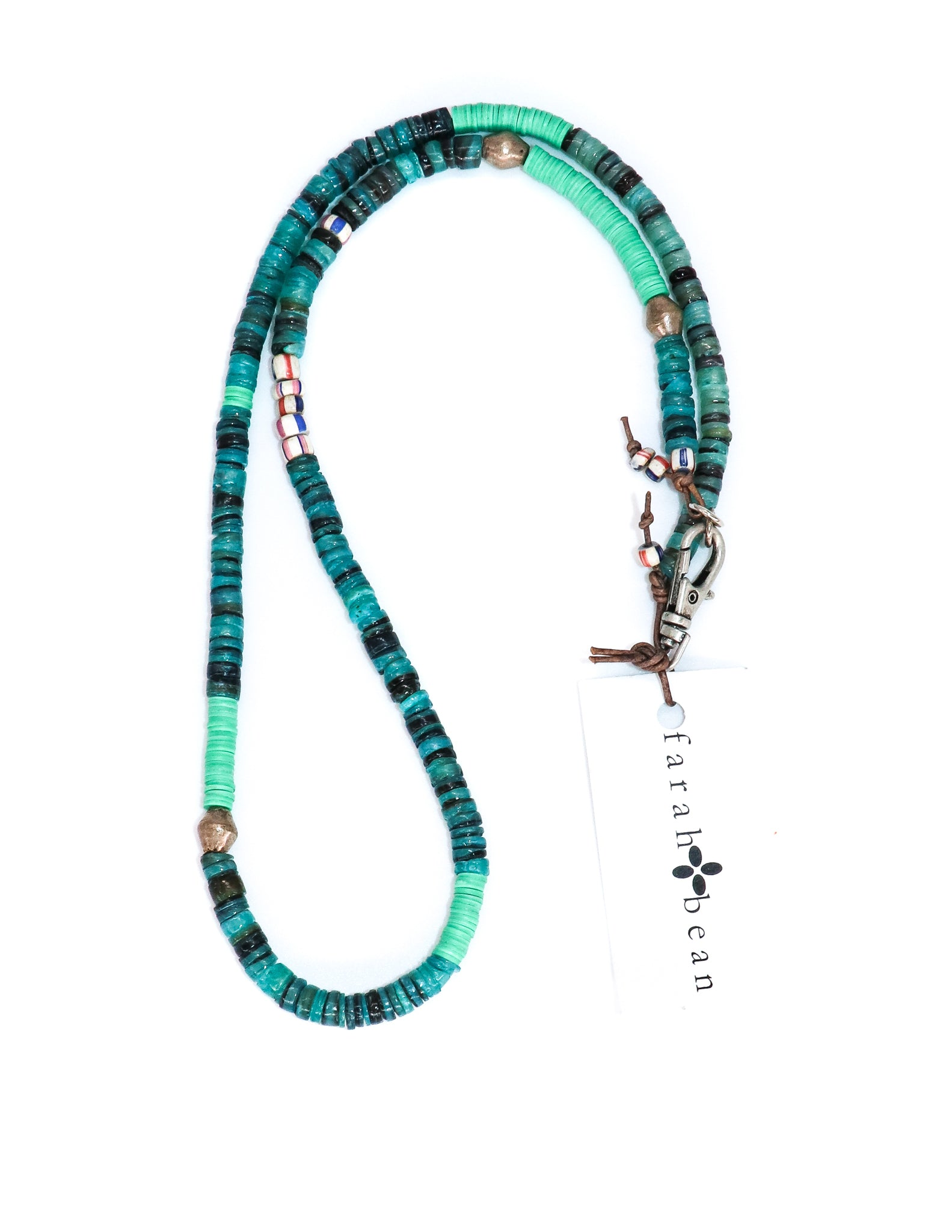 Turquoise shell and African vinyl necklace