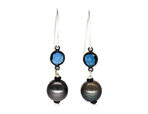 Tahitian pearl with blue topaz earrings