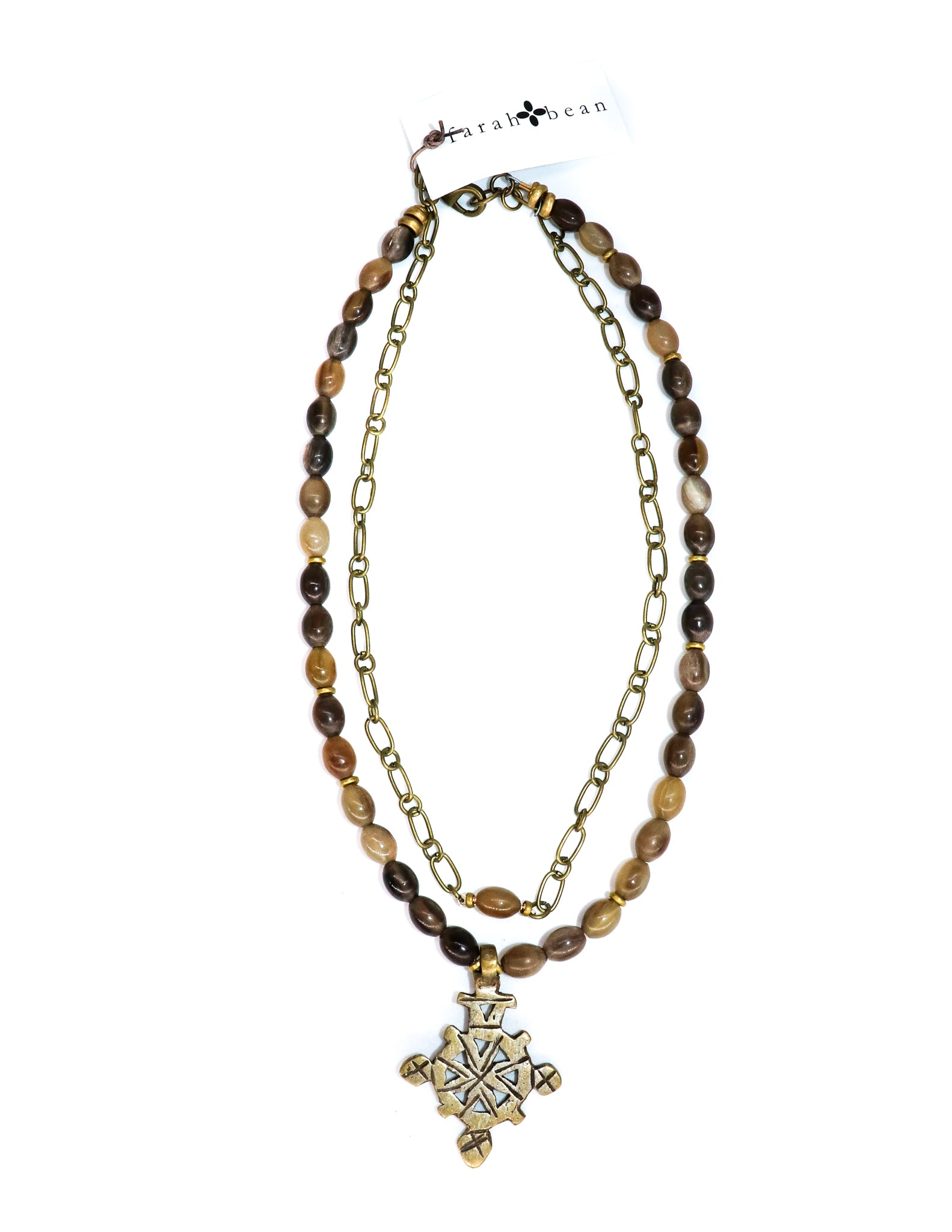 Horn necklace with Ethiopian cross