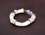 Load image into Gallery viewer, Carved cream beads with cream disc bracelet