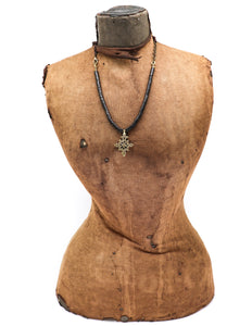 Coconut shell necklace with an Ethiopian cross