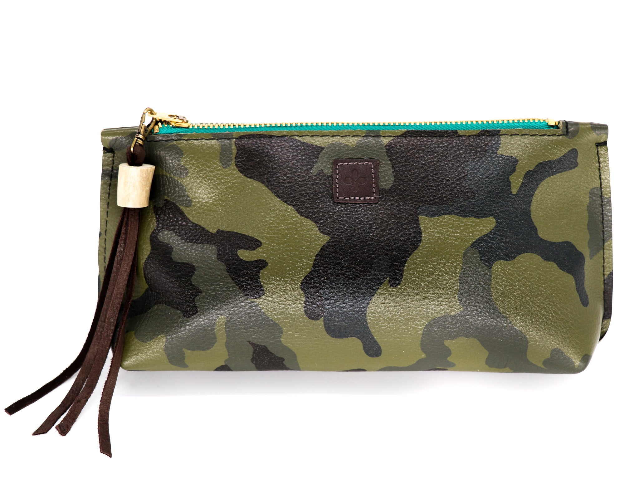 Green camo leather clutch