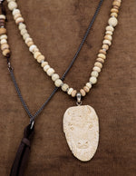 Load image into Gallery viewer, Natural bead and hand carved buffalo pendant necklace