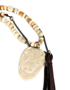 Natural bead and hand carved buffalo pendant necklace