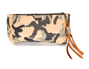 Tan camoflauge small clutch