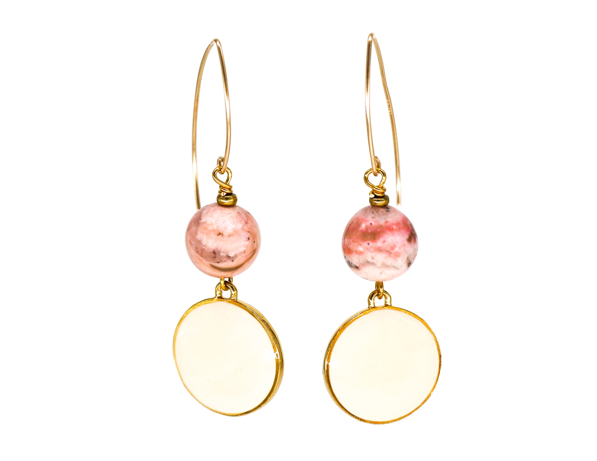 Rhodochrosite and cream enamel earrings