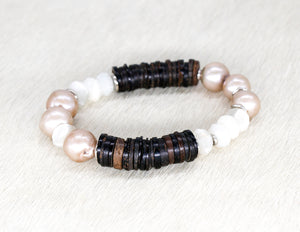 Freshwater baroque champagne pearls, coconut, moonstone and silver bracelet