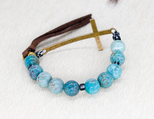 Cross band bracelet with cuprite and African beads