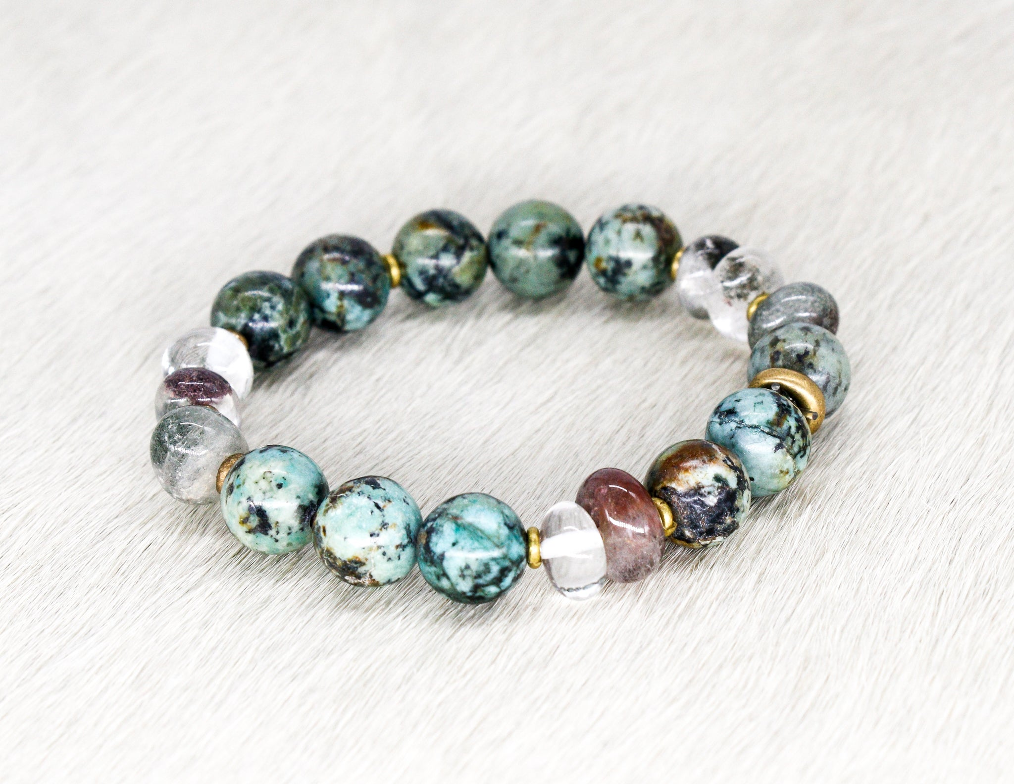 African turquoise, green lodalite and brass bracelet