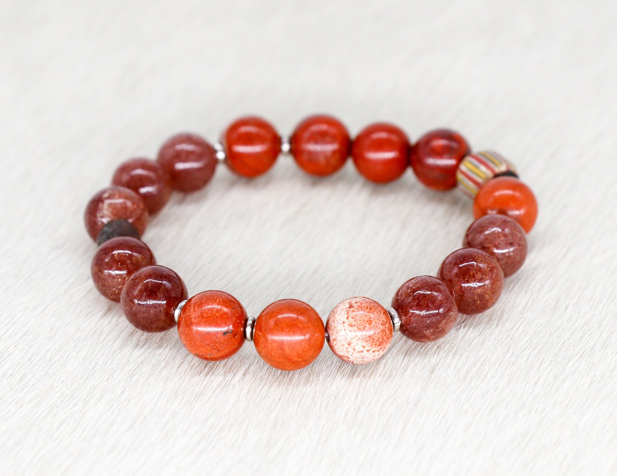 Red jasper and aventurine bracelet