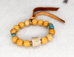 Load image into Gallery viewer, Mookaite with turquoise, shed antler, brass and suede tassel bracelet