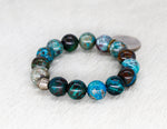 Load image into Gallery viewer, Chrysocolla and vintage coin bracelet