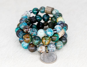 Chrysocolla and vintage coin bracelet