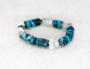 Phantom Quartz, turquoise, lodalite, African beads and brass bracelet