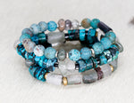 Load image into Gallery viewer, Phantom Quartz, turquoise, lodalite, African beads and brass bracelet
