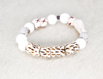 Load image into Gallery viewer, White jade, carved bone, African beads, silver, shed polished antler bracelet