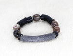 Load image into Gallery viewer, Natural grey bead and silver bracelet