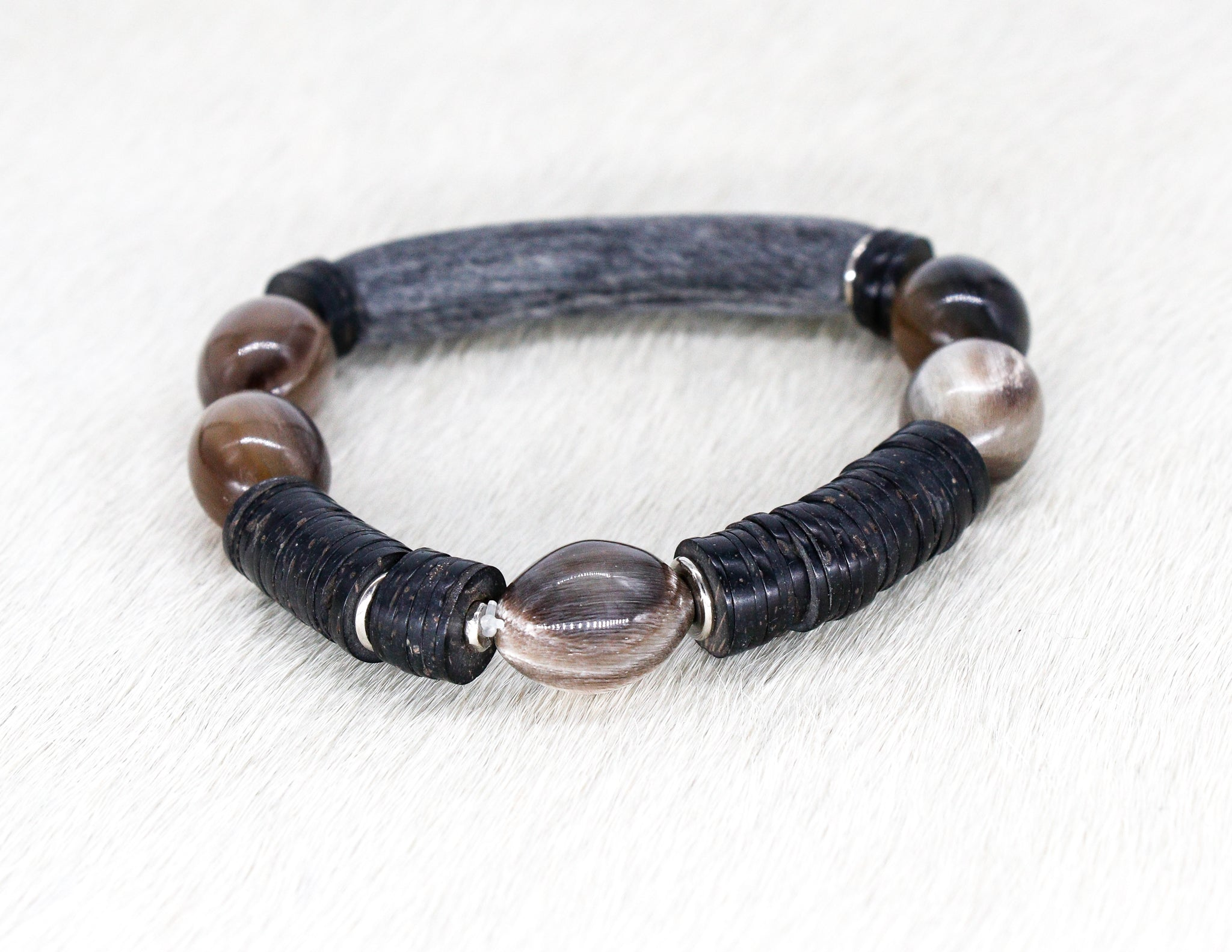 Natural grey bead and silver bracelet