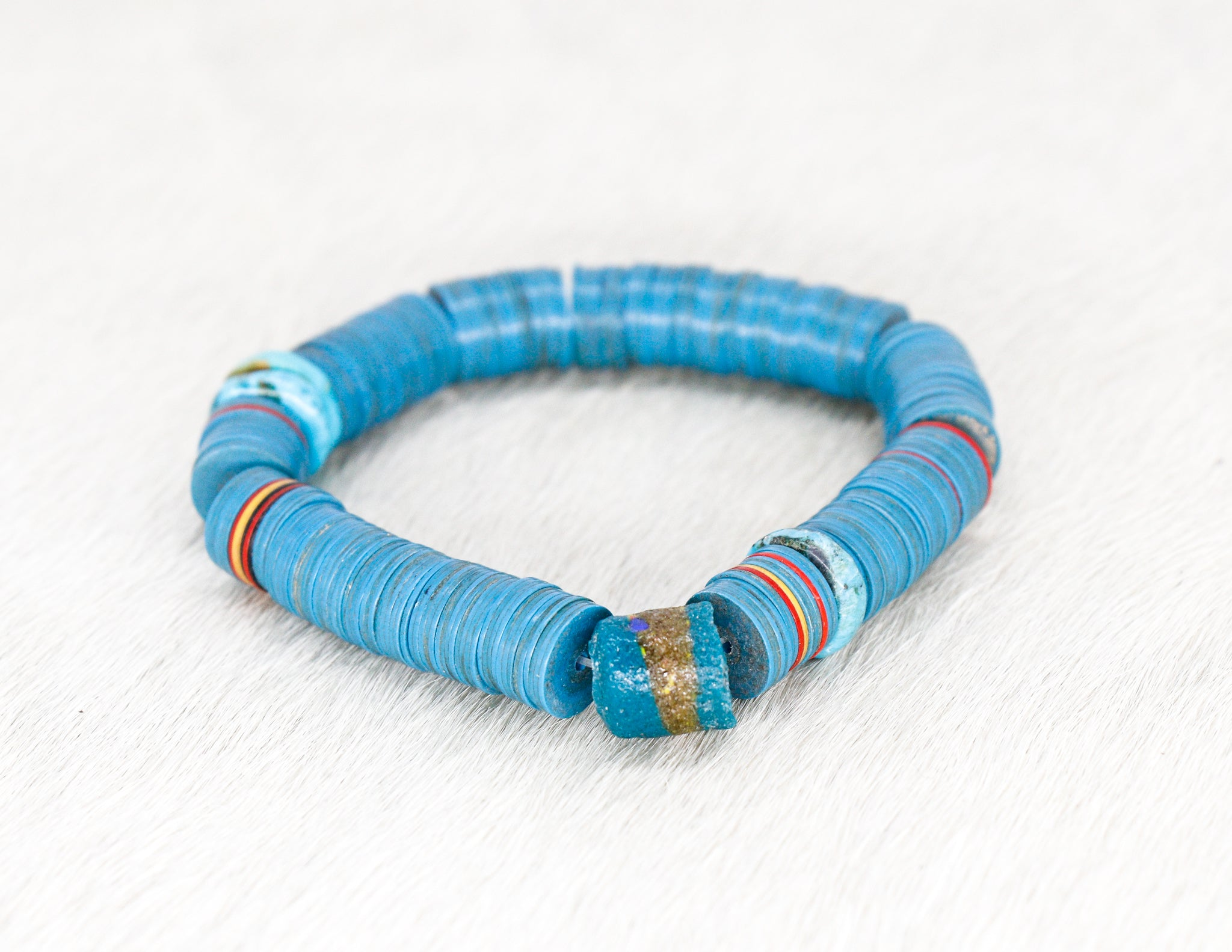African vinyl and glass bead bracelet