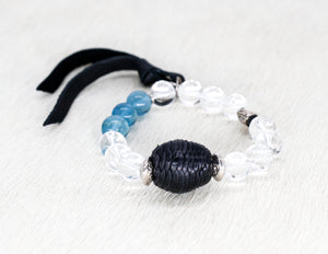Crystal quartz and African leather bead bracelet