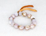 Load image into Gallery viewer, Freshwater baroque pearls with natural druzy bracelet
