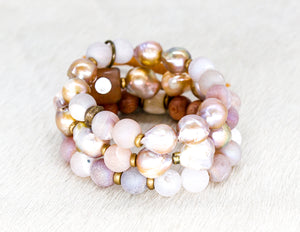 Freshwater baroque pearls with natural druzy bracelet