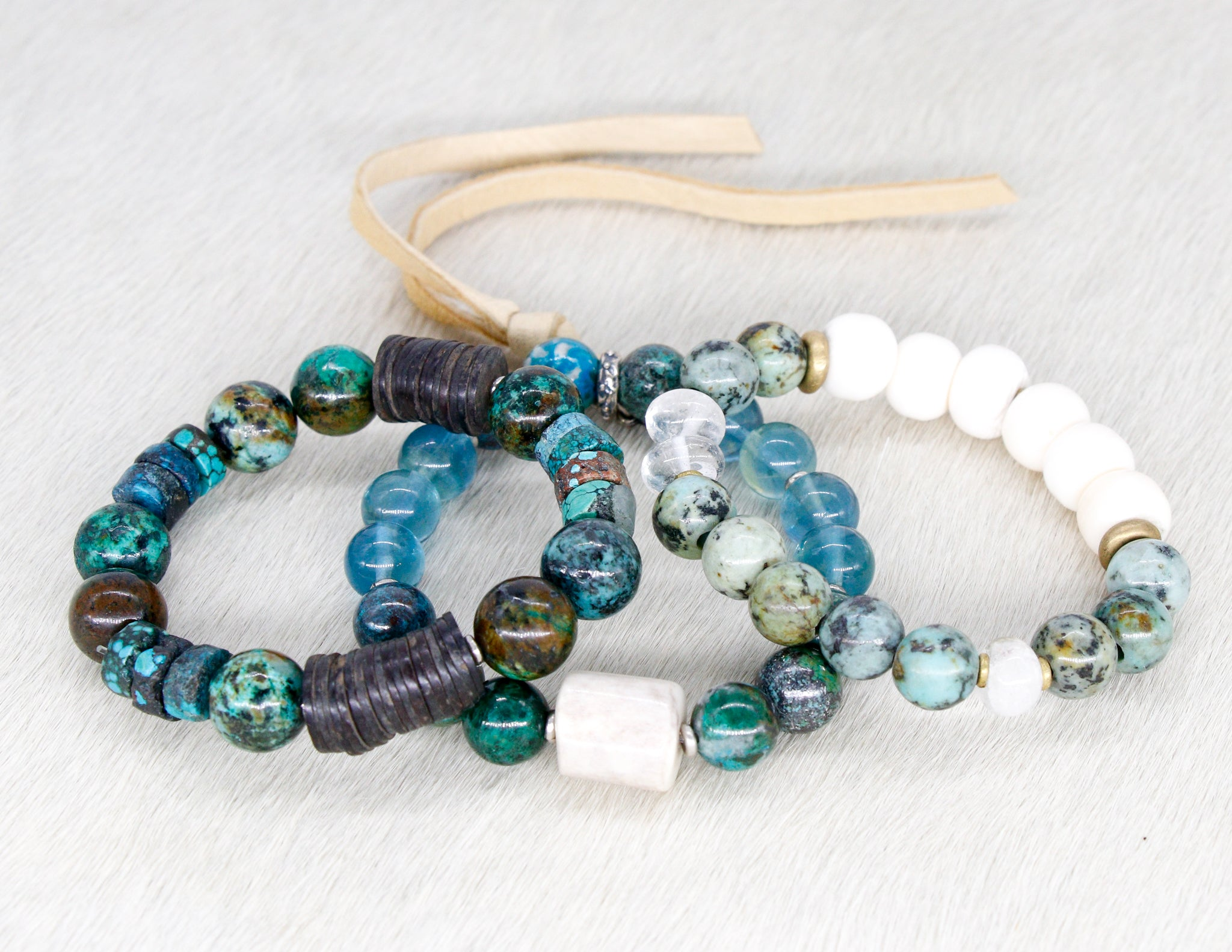 Chrysocolla, turquoise and coconut shell bracelet