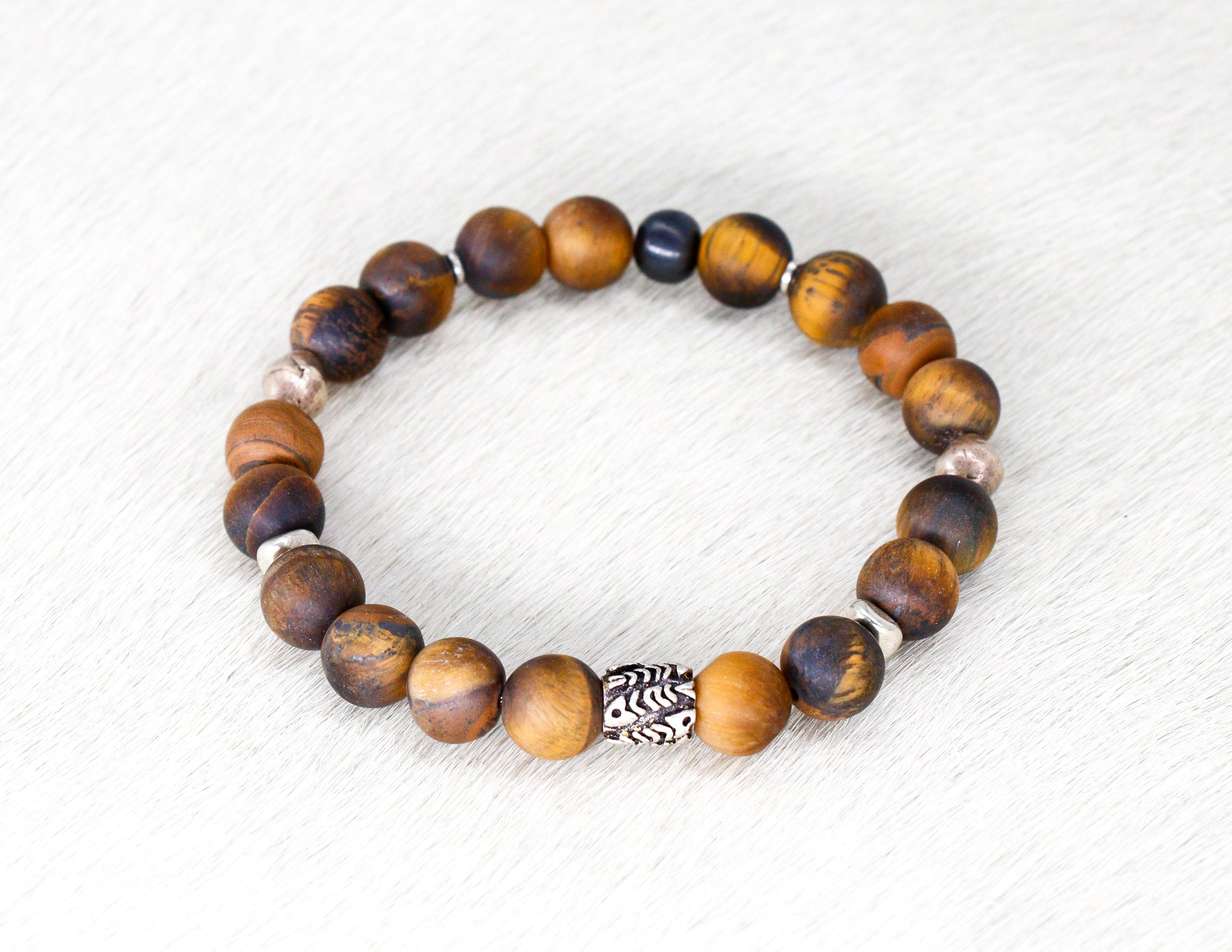 Matte tigereye bracelet with silver men's bracelet
