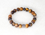 Load image into Gallery viewer, Matte tigereye bracelet with silver men's bracelet