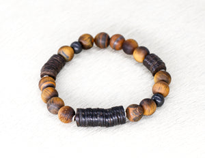 Tigereye with coconut shell men's bracelet