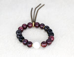 Load image into Gallery viewer, Garnet with white freshwater pearl bracelet