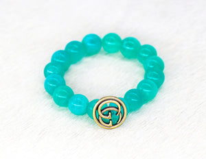 Amazonite beads with a repurposed designer GG button bracelet