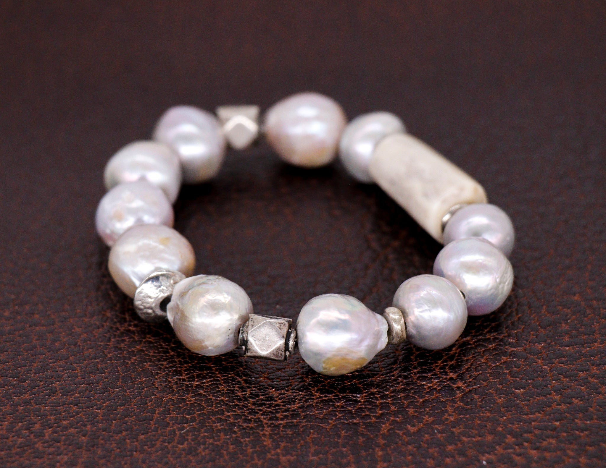 Freshwater grey baroque pearls with silver and shed horn