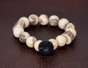 Zebradorite with vintage horseshoe button