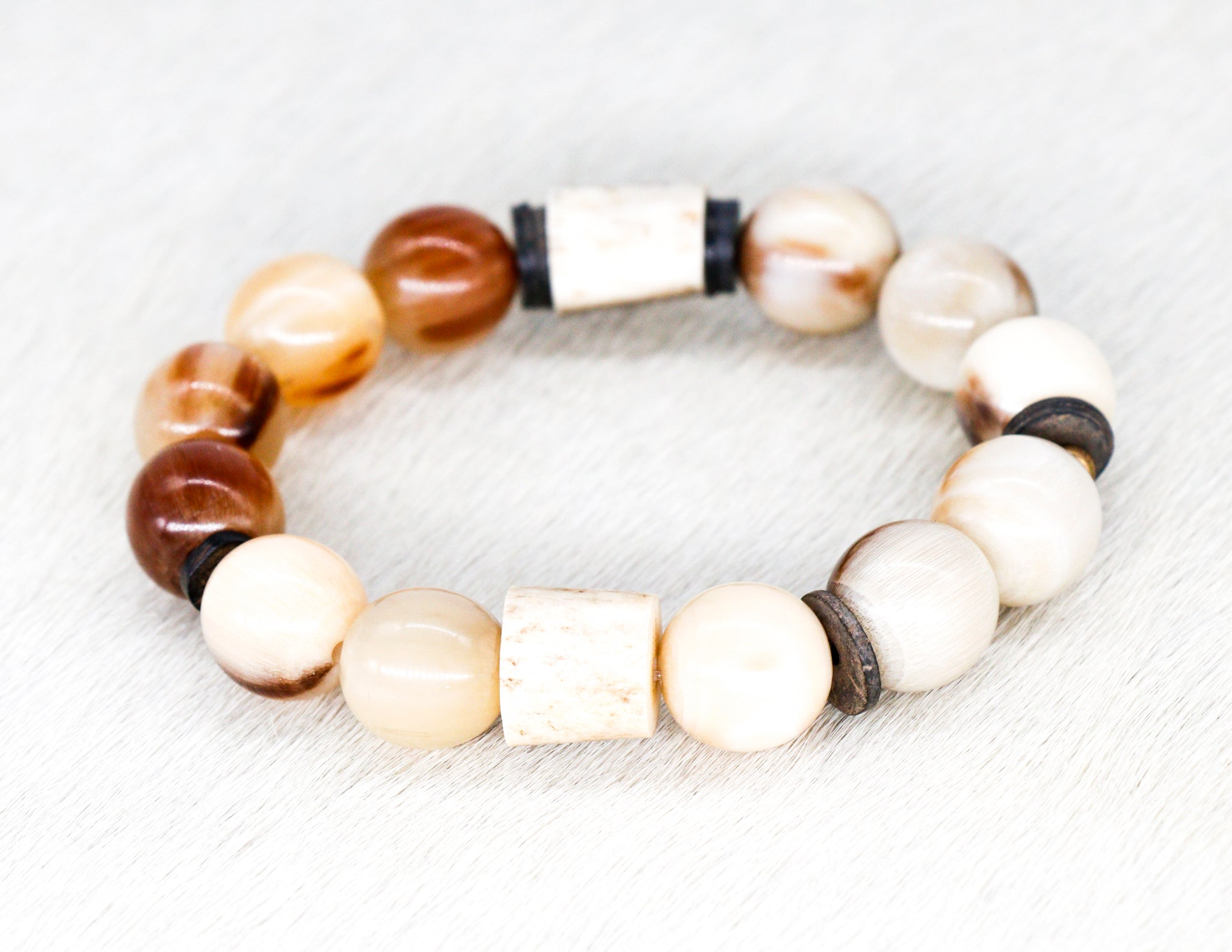 Natural golden beads with shed horn and coconut shell men's bracelet