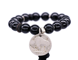 "SKO Buffs bracelet with tourmaline and a"" buffalo nickel"" coin"