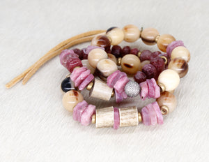 Ruby and natural bead  bracelet