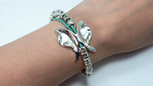 Load image into Gallery viewer, Silver Butterfly Beaded Bracelet