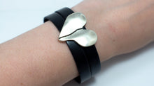 Load image into Gallery viewer, Silver Split Heart Leather Bracelet