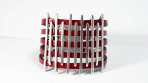 Silver & Red Weaved Leather Bracelet