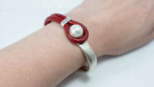 Load image into Gallery viewer, Pearl & Leather Half Cuff Bracelet