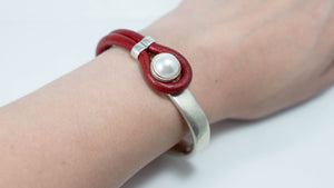 Pearl & Leather Half Cuff Bracelet