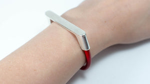 Sliver Bar Leather Bracelet