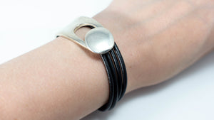 Silver Button Half Cuff w/Leather Wrap Bracelet